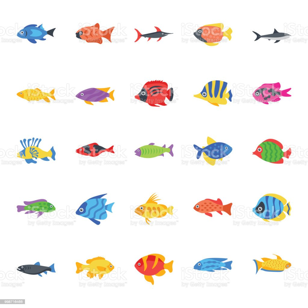 Set of Fishes Flat Vector Icons vector art illustration