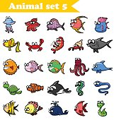 Set of cute cartoon sea fishes and animals
