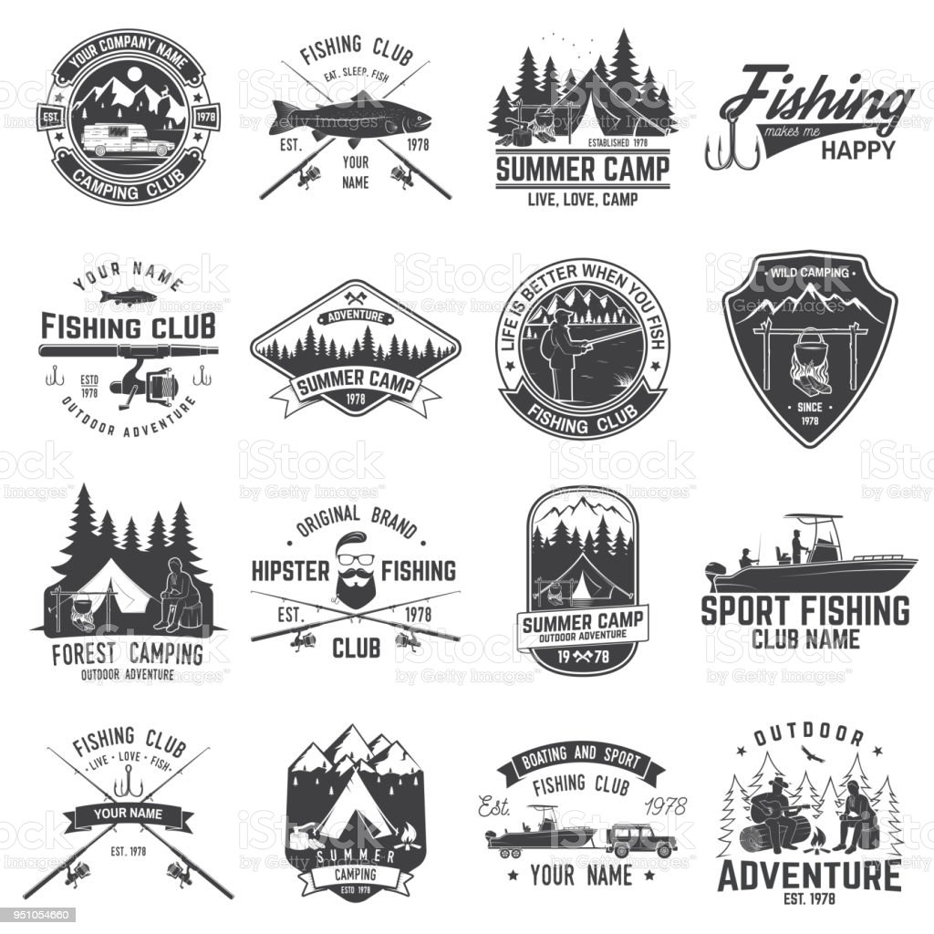Set of fishing and camping club badge. Vector illustration vector art illustration