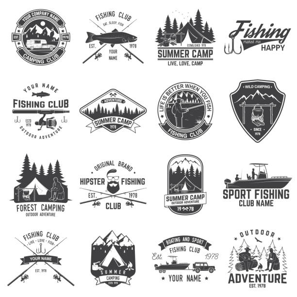 set of fishing and camping club badge. vector illustration - fishing stock illustrations