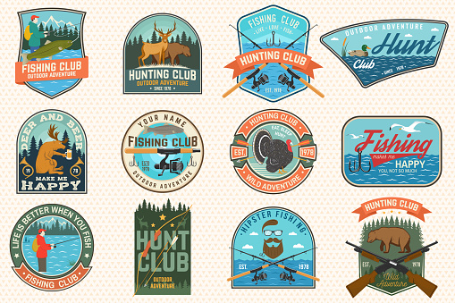 Set of Fishing and Hunting club patches. Vector Concept for shirt, print, patch. Patches with hunting gun, hunter, fish rod, fisher, river, forest. Outdoor fishing and hunting club emblem