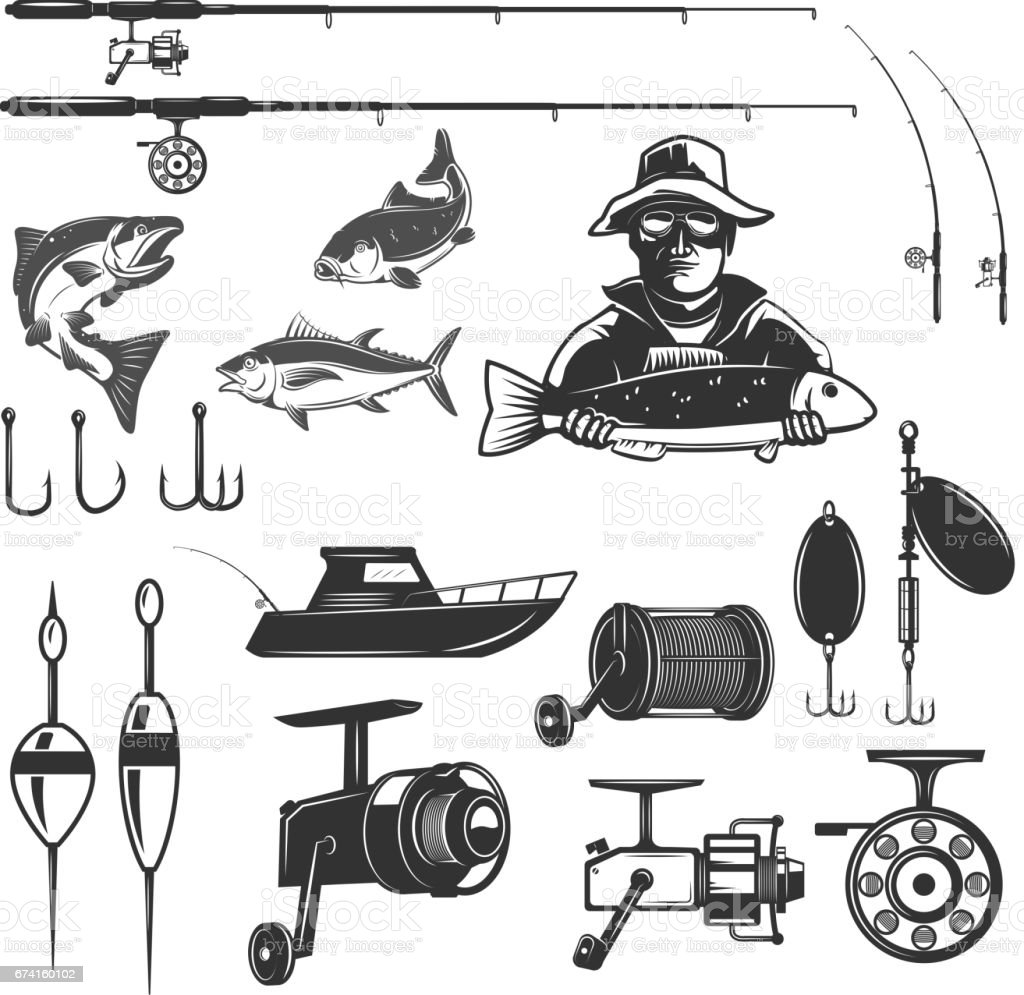 Set of fishing design elements isolated on white background. Images for logo, label, emblem. Vector illustration. vector art illustration