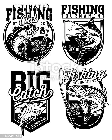 fully editable vector illustration of fishing emblem collection, image suitable for emblem design or t-shirt graphic