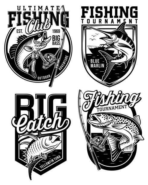 illustrazioni stock, clip art, cartoni animati e icone di tendenza di set of fishing emblem designs - trout