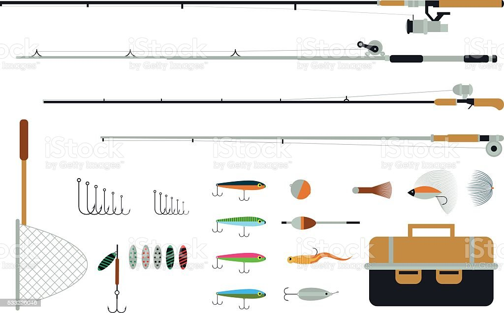 Set of fishing equipment with fishing tackles, lures and hooks. vector art illustration