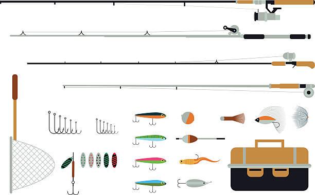 ein satz von fischen ausstattung mit angeln geht, lockt und -haken. - angelurlaub stock-grafiken, -clipart, -cartoons und -symbole