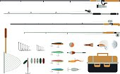 Set of fishing equipment with fishing tackles, lures and hooks.