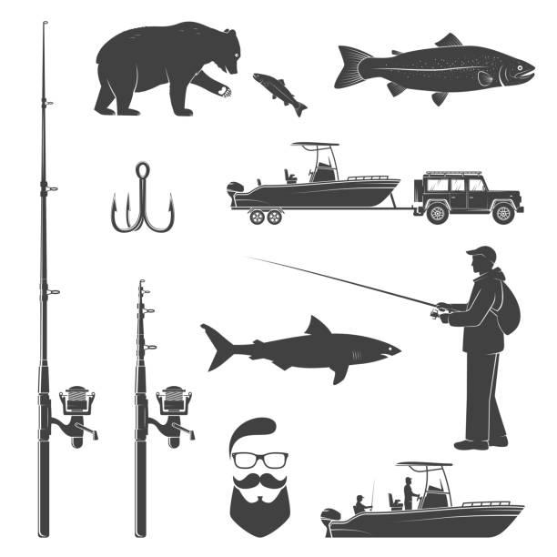 satz von fischerei-symbol. vektor-illustration - haifischköder stock-grafiken, -clipart, -cartoons und -symbole