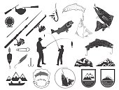 Set of fishing icons and icons.
