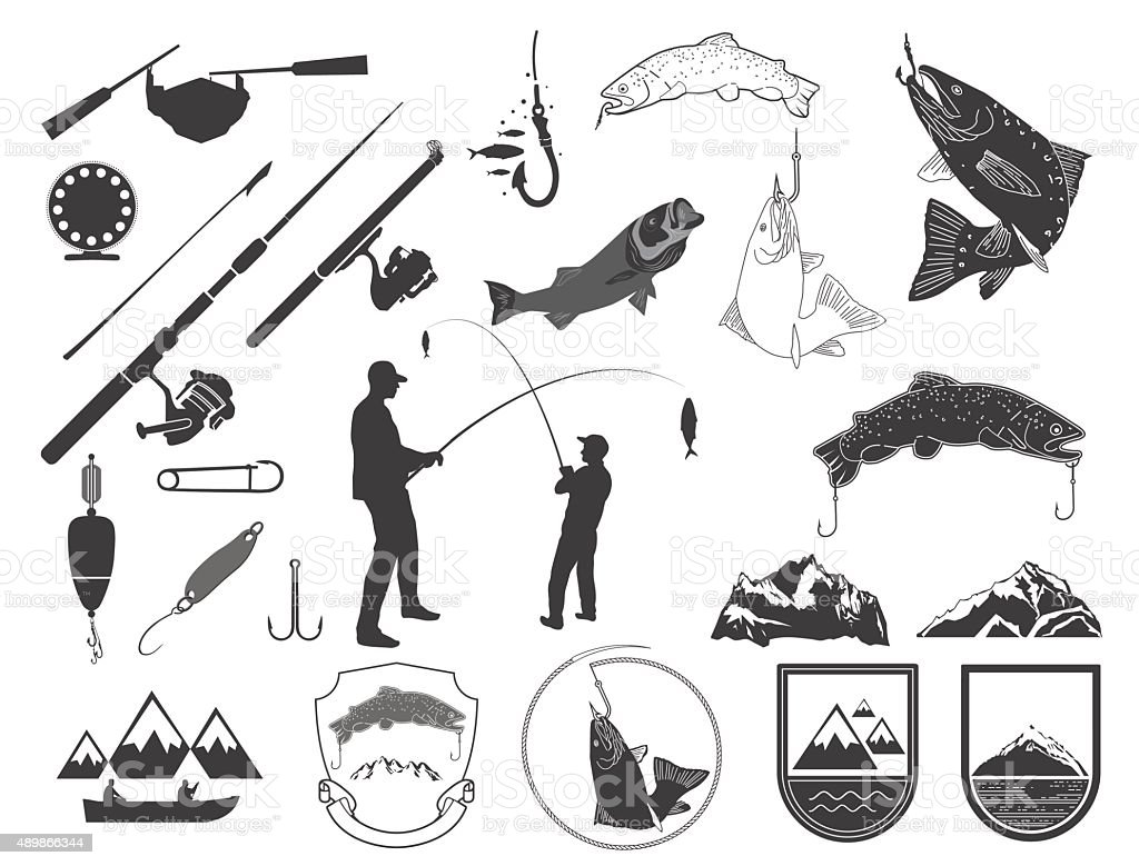 Set of fishing icons and icons. vector art illustration