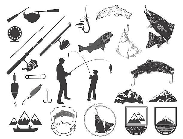 satz von fischen icons und symbolen. - angelurlaub stock-grafiken, -clipart, -cartoons und -symbole
