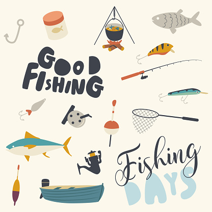Set of Fishing Icons Boat, Rod and Net with Fish, Campfire with Cauldron and Soup. Bait, Hook Tackle on White Background
