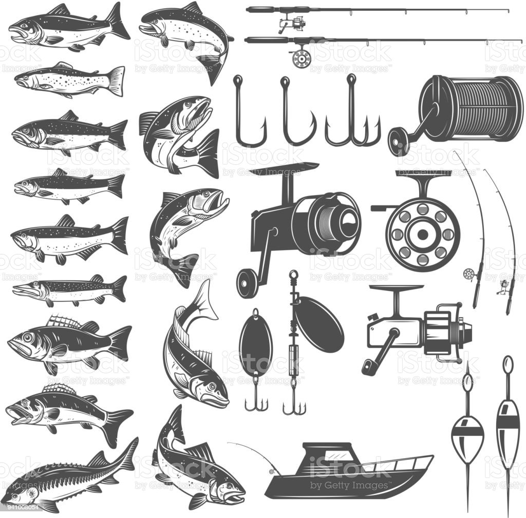 Set of fishing icons. Fish icons, fishing rods. Design element for label, emblem, sign. vector art illustration