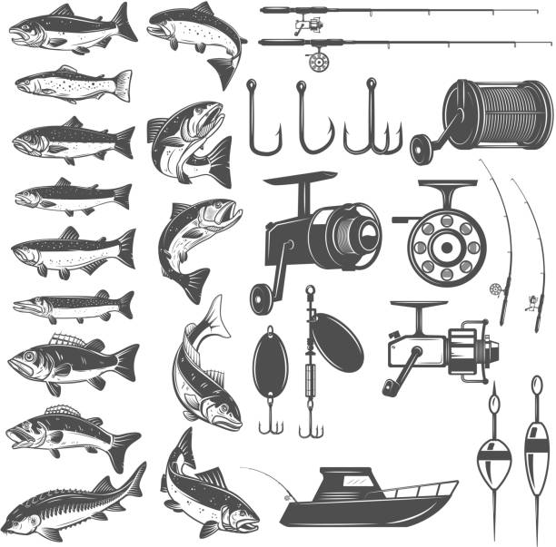 Set of fishing icons. Fish icons, fishing rods. Design element for label, emblem, sign. Set of fishing icons. Fish icons, fishing rods. Design element for label, emblem, sign. Vector illustration fishing reel stock illustrations