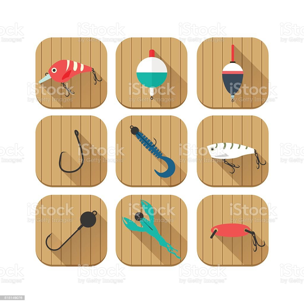 Set of fishing icons for mobile apps, website vector art illustration
