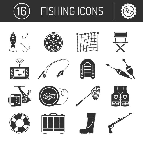 Set of Fishing icons in silhouette flat style isolated on white background. Set of Fishing icons in silhouette flat style isolated on white background. Collection of Bait for fish, fishing rod, Inflatable boat, Lifebuoy, Organizer, Floats, Landing net, Fish finder, Rubber boots, Spear gun, Chair and Coil vector illustration. fishing reel stock illustrations
