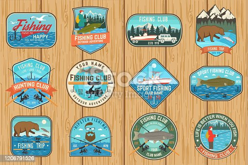 Set of fishing patch. Vector illustration. Concept for shirt or , print, stamp, tee, patch. Vintage typography design with fish rod, fisher, river, rainbow trout, bear and mountain silhouette.