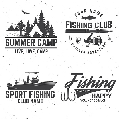 Set of fishing sport club bages. Vector illustration