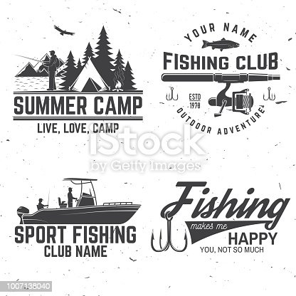 Set of fishing sport club bages. Vector illustration. Concept for shirt or logo, print, stamp or tee. Vintage typography design fisherman, camping tent, campfire and forest silhouette.