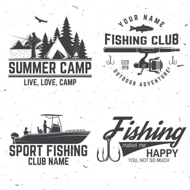 set of fishing sport club bages. vector illustration - fishing stock illustrations