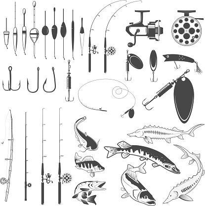 Set of fishing tools, river fish icons, equipment for fishing.
