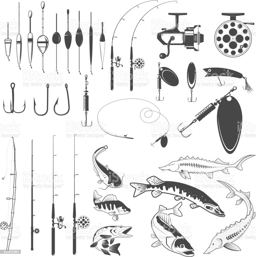 Set of fishing tools, river fish icons, equipment for fishing. vector art illustration