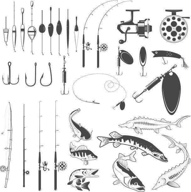 Set of fishing tools, river fish icons, equipment for fishing. vector art illustration