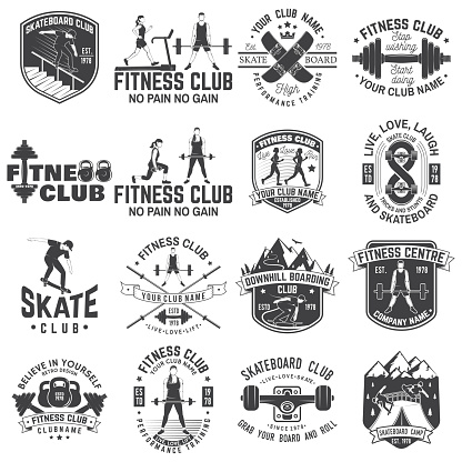 Set of fitness and skate board club concept with girls doing exercise and skateboarder silhouette. Vector