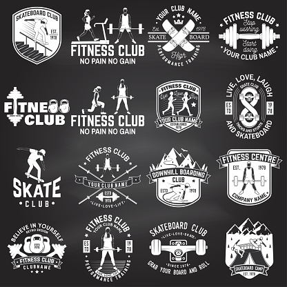 Set of fitness and skate board club concept with girls doing exercise and skateboarder silhouette on the chalkboard. Vector