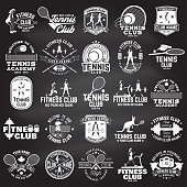 Set of fitness and tennis club concept with girls doing exercise and tennis player silhouette