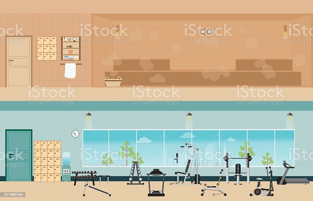 Set of fitness gym interior with equipment and sauna interior. vector art illustration
