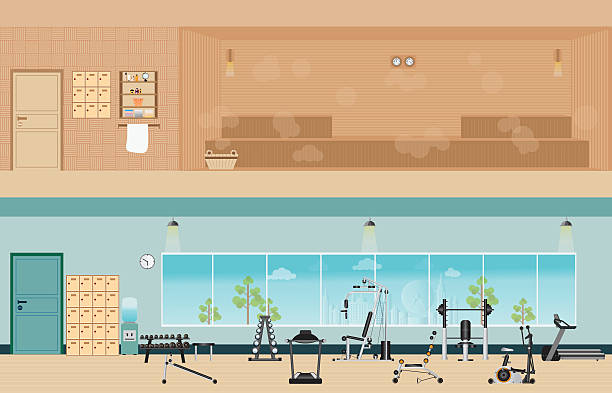 set of fitness gym interior with equipment and sauna interior. - sauna stock-grafiken, -clipart, -cartoons und -symbole