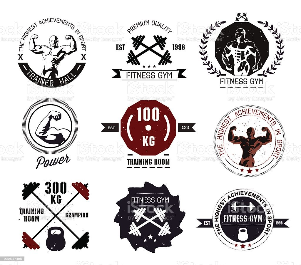 Set Of Fitness Gym Logotypes And Fitness Labels Stock