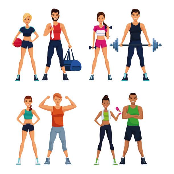 Set of fitness people Set of fitness people with sport elements collection vector illustration graphic design setter athlete stock illustrations