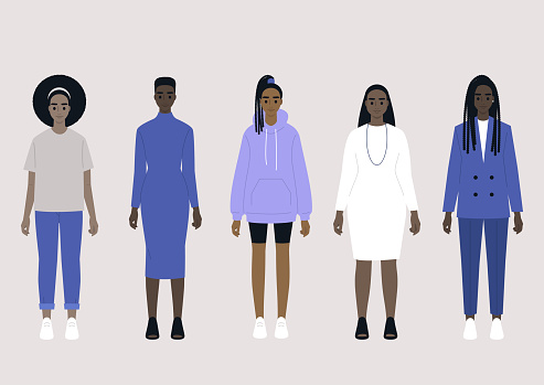 A set of five black female characters wearing different fashion outfits: casual, sport, business costume and evening dress