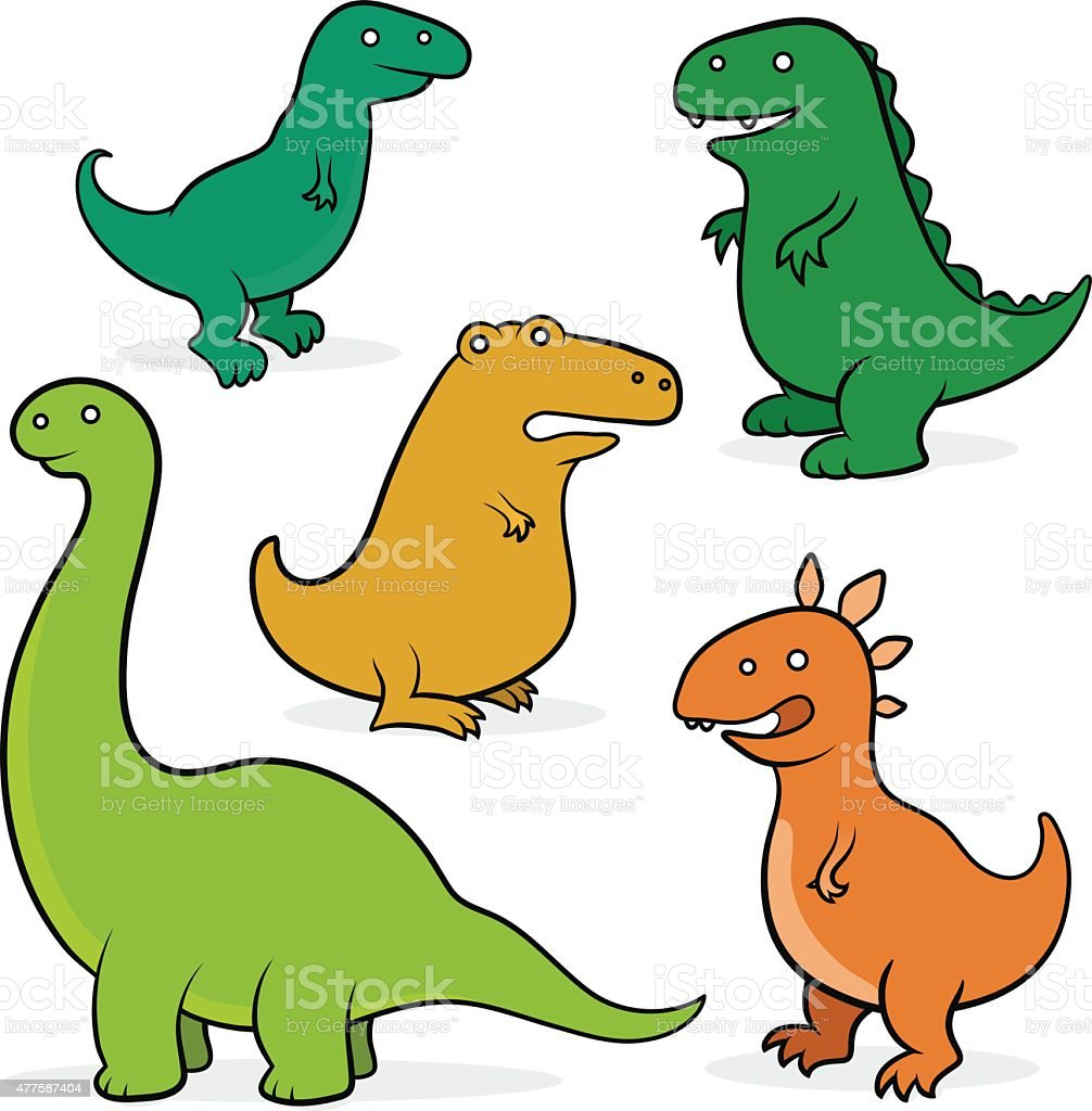 set of five cartoon dinosaurs for kids stock vector art 477587404