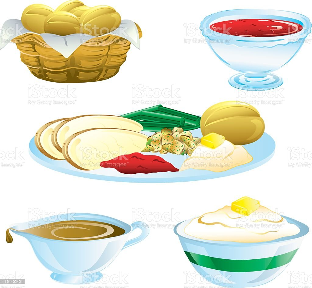 Set of five colorful Thanksgiving dinner food icons vector art illustration