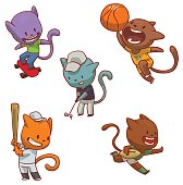 Vector set of cute cats of different colors in various clothes involved in sports: engaged in skateboarding, playing basketball, playing golf, playing baseball and playing rugby on a white background.