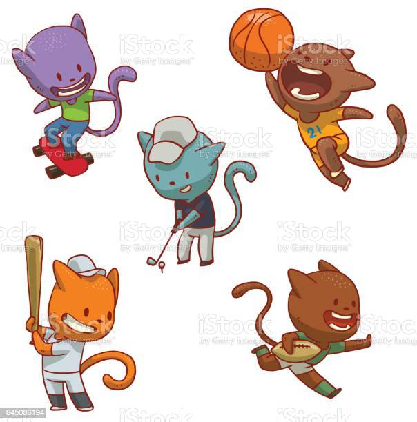Set of five cute cats involved in sports vector id645086194?b=1&k=6&m=645086194&s=612x612&h=lskvsopsi03o4sqvcgdkwuqjtxy189d4x 5 sdv ztw=