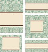 Blank card designs in different formats.  Seamless pattern swatch is included in swatches window.  Colors are global for easy editing.