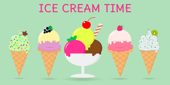 A set of five different sweet ice cream on a background with text