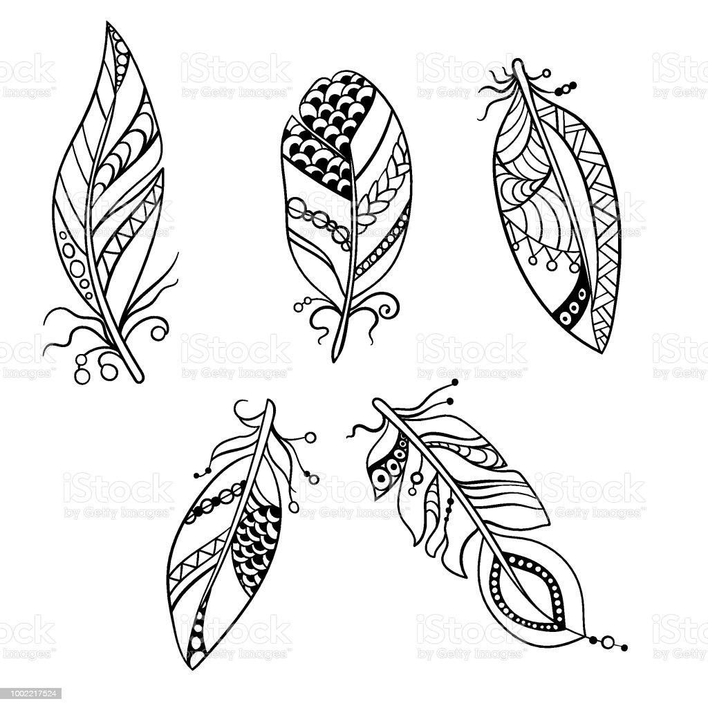 Ilustración de Conjunto De Cinco Plumas En Americanos étnicos ...