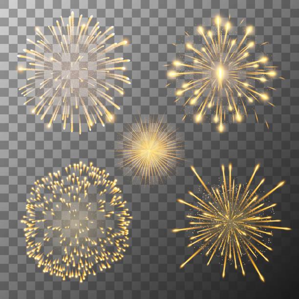Set of five fireworks bursting in various shapes. Firework explosion in night. Firecracker rockets bursting in big sparkling star balls Set of five vector fireworks bursting in various shapes. Firework explosion in night. Firecracker rockets bursting in big sparkling star balls pyrotechnic effects stock illustrations