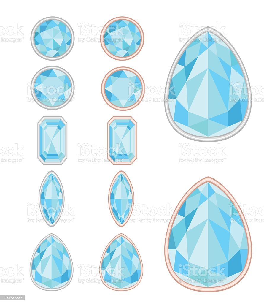 set of five forms of sapphiere cut royalty-free stock vector art