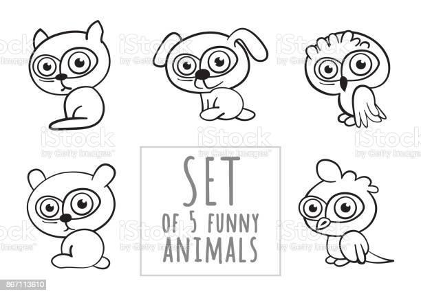 Set of five funny cartoon linear animals on white background vector vector id867113610?b=1&k=6&m=867113610&s=612x612&h=guzayxb9lcuqwfrjebofu8gqqxkzl3qcpgaz4eqotam=