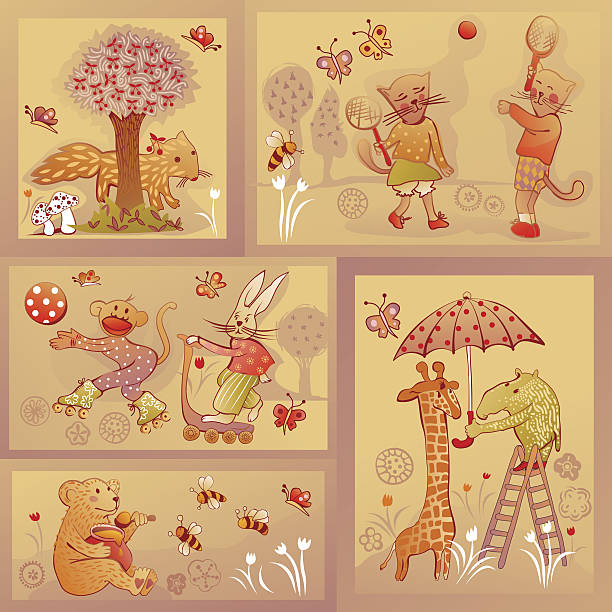 set of five illustrations of wildlife characters in funny situations vector art illustration