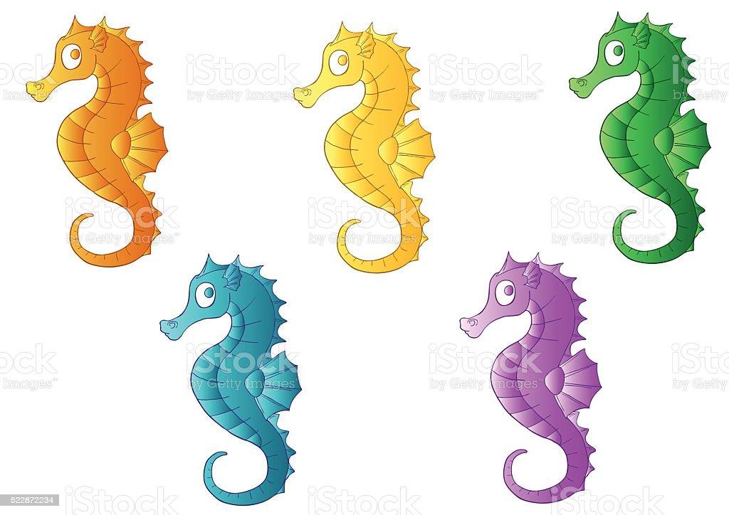 Набор пяти разноцветная море лошадей векторная иллюстрация