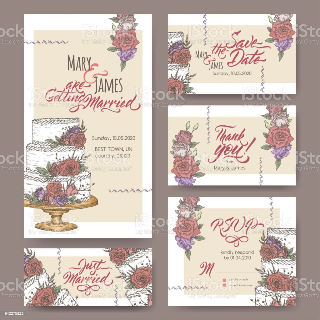 Set Of Five Original Attractive Wedding Cards Based On Cake Color