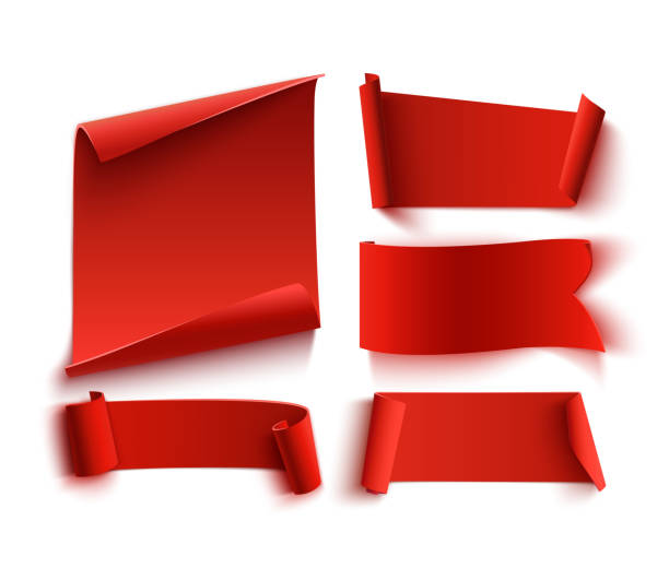 set of five red, realistic, paper banners. - transparent stock illustrations