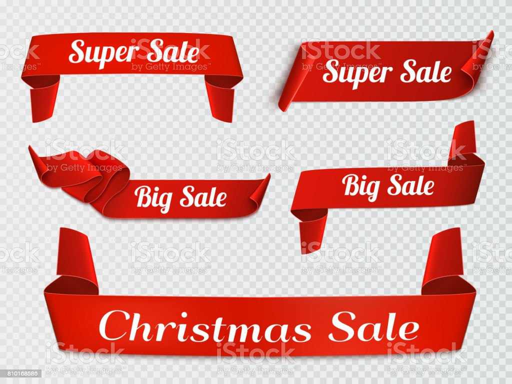 Set of five red, realistic, sale paper banners isolated. vector art illustration